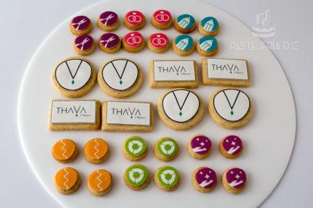 Galletas personalizadas corporativas en Bogotá Logo imágenes Thava
