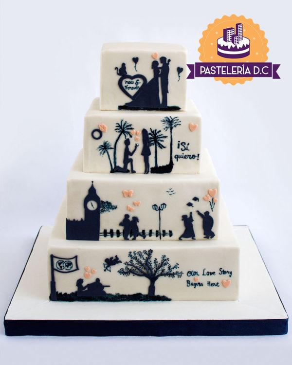 Ponqué Pastel Torta personalizada en Bogotá Matrimonio o Boda con siluetas