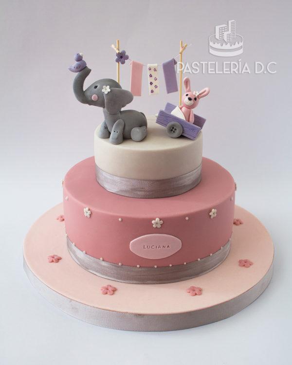 Ponqué Pastel Torta personalizada en Bogotá bebé elefante y conejo