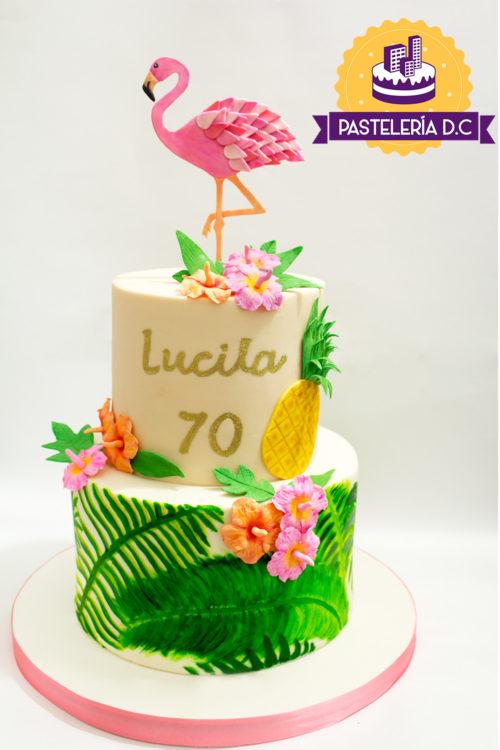 Ponqué Pastel Torta personalizada en Bogotá Fiesta Hawaiana Hawaii Flamingo