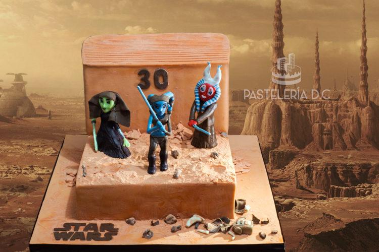 Ponqué Pastel Torta personalizada en Bogotá Star Wars Geonosis Jedi Aayla Secura Shaak Ti Luminara Unduli