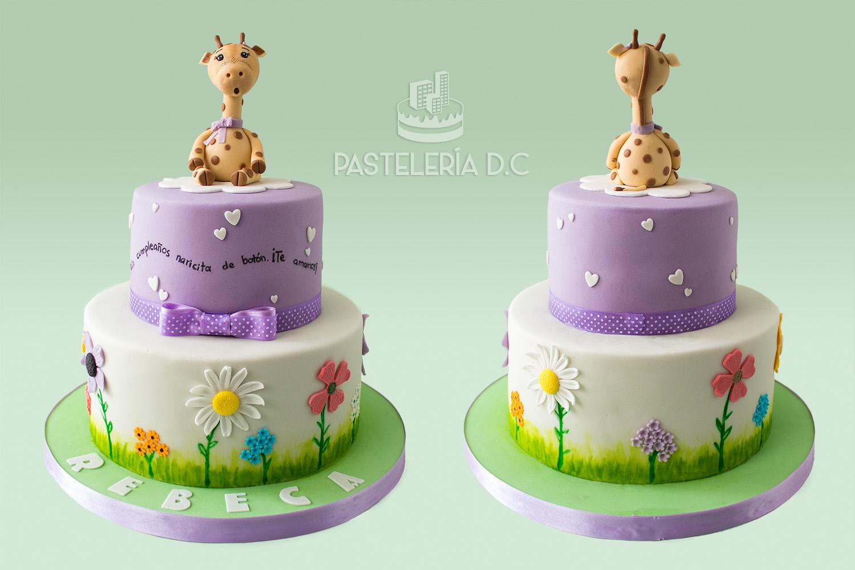 Ponqué Pastel Torta personalizada en Bogotá jirafa y flores