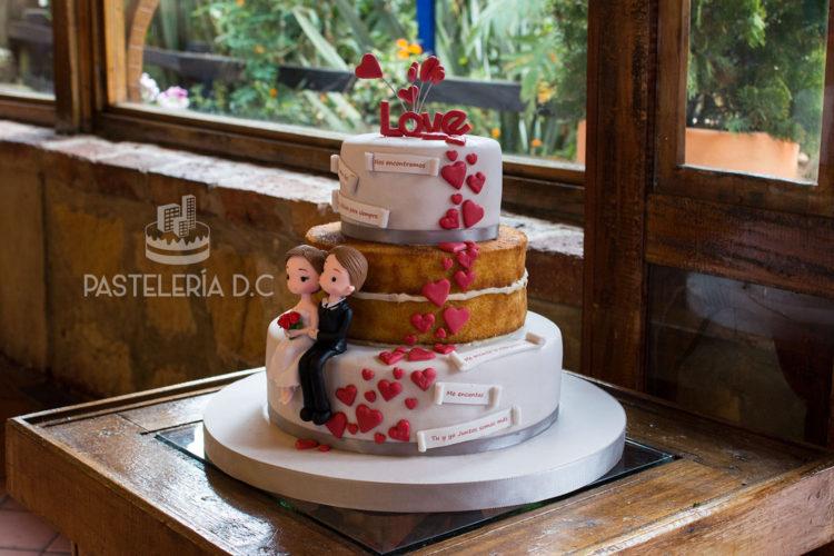 Ponqué Pastel Torta desnuda fondant Matrimonio o Boda Naked Cake fondant en Bogotá