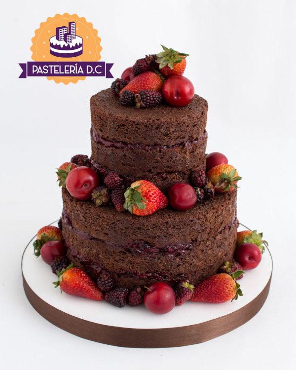 Ponqué Pastel Torta desnuda en Bogotá frutas sin cubierta cumpleaños