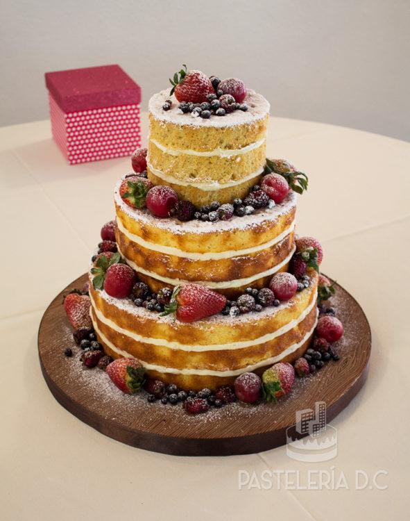 Ponqué Pastel Torta desnuda Matrimonio o Boda Naked Cake en Bogotá