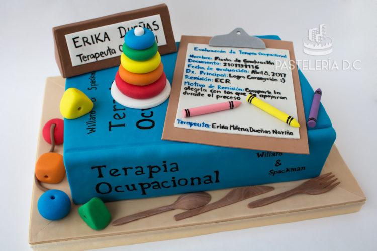 Ponqué Pastel Torta personalizada en Bogotá Libro Terapia grado Terapeuta ocupacional