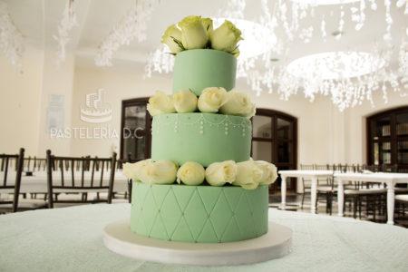 Ponqué Pastel Torta vintage verde menta Quince años Matrimonio o Boda en Bogotá